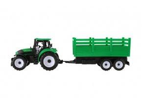 Traktor s vlečkou plast 38cm na setrvačník asst 2 barvy v blistru