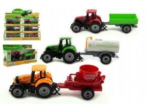 Traktor s přívěsem plast/kov 19cm asst 3 druhy v krabičce volný chod (1 ks)