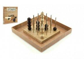 Piškvorky 3D podstavec + kuličky dřevo/kov hlavolam společenská hra v krabici 22x22x3cm