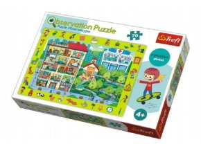 """Puzzle """"Hledání předmětů"""" město 48x34cm 70dílků v krabici 33x23x6cm"""