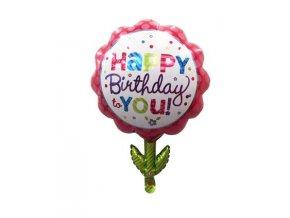 balonek happy birthday tvar kytka 55x75cm