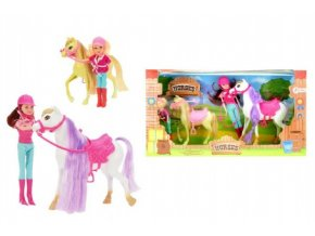 Kůň 2ks česací s doplňky + panenka žokejka 4ks plast v krabici 48x26x12cm
