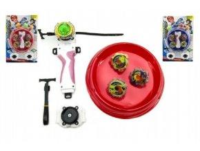 Vrtulky Spintop 4ks Stormgyro točící+aréna+startér plast asst 2 barvy na kartě 25x37x4cm