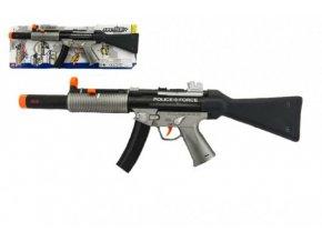 Pistole samopal policie plast 59cm na baterie se zvukem se světlem skladem