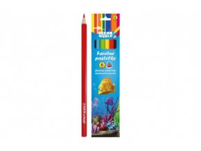 Pastelky barevné dřevo Ocean World trojhranné 6 ks sladem