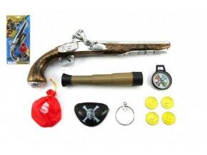 Pirátská sada- Pistole+dalekohled s doplňky plast  Skladem