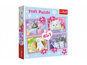 Puzzle 4v1 Kočičí zábava 28,5x20,5cm v krabici 28x28x6cm