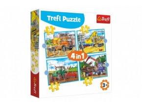 Puzzle 4v1 Pracovní Vozidla v krabici 28x28x6cm