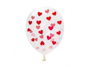 balonky potisk cervena srdicka 30cm 5ks pruhledna skladem
