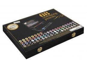 Dřevěný malířský kufřík s pastelkami 68 ks skladem