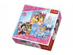Puzzle 3v1 Princezny Disney 20x19,5cm skladem