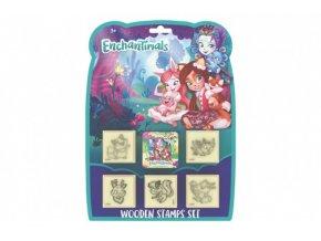 Razítka 5+1 Enchantimals s poduškou 4,5x4,5cm dřevěná na kartě