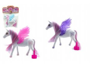 Kůň s křídly česací fliška 16cm mix z 3 barvy v sáčku