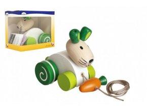 Zajíc/Zajíček tahací s mrkví dřevo v krabičce 13x11x8cm 12m+