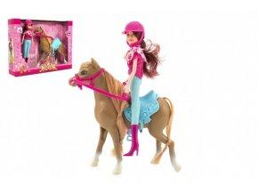 Kůň + panenka žokejka plast 23cm v krabici 35x26x8cm