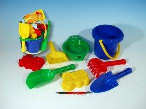 Kbelík sítko lopatka kupecká lopatka hrabičky plast v síťce skladem