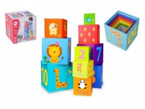 Kubus pyramida skládanka hranatá karton 10ks v krabici 16,5x16,5x16,5cm 18m+