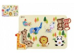Vkládačka/Puzzle deskové obrysové zoo dřevo 30x21cm ve fólii 18m+