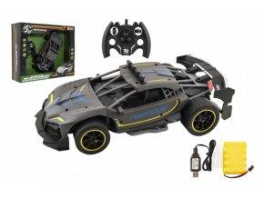 Auto RC Sport antracit 33cm plast 2,4GHz na baterie + dobíjecí pack v krabici 43x36x13cm