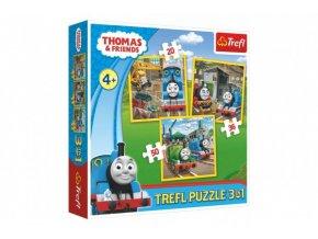 Puzzle 3v1 Mašinka Tomáš/Tomáš jde do akce 20x19,5cm v krabici 28x28x6cm