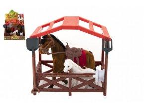 Kůň se sedlem s hříbětem fliška plast s ohradou s doplňky v krabici 23x20x15cm