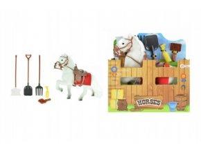 Kůň s doplňky bílý fliška 15cm v krabičce