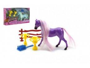 Kůň s hřívou česací a doplňky plast mix z 2 barvy v krabičce 20x11x3,5cm