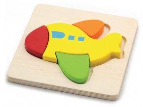Puzzle dřevěné - letadlo 4 dílky
