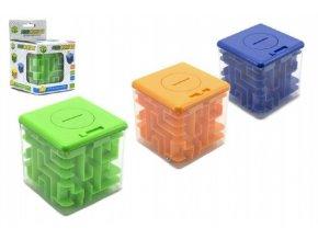 Pokladnička s hlavolamem pro otevření mince do 5Kč plast 8x8cm asst 3 barvy v krabičce