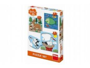 Puzzle baby zvířátka 3 obrázky 18x18cm 12 dílků v krabici 19x27x4cm