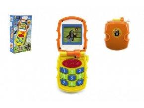 Krtkův mobil telefon měnící obrázky Krtek žlutý plast se světlem a se zvukem v krab. 12x21x5cm 6m+