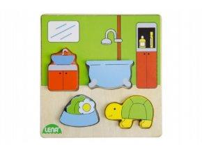 Vkládačka/Puzzle dřevěné koupelna v krabičce 14x20x2cm 18m+
