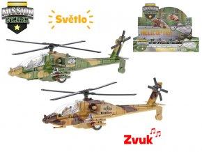 Helikoptéra vojenská 20cm kov zpětný chod na baterie