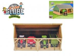 Garáž dřevěná pro traktory 25,5x33,5x17cm 1:50