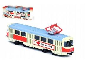 Tramvaj Tatra T3 česká kovová 16cm I LOVE PRAGUE retro na zpětný chod v krabičce 20x8x6cm CZ design