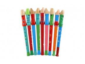 Flétna malovaná dřevo 33cm mix z mix barev v sáčku
