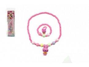 Náhrdelník a náramek korálky perleťové plast 15cm asst 2 druhy v sáčku