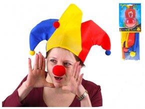 Klaunská čepice s červeným nosem