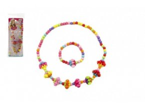 Náhrdelník a náramek korálky barevné plast 15cm mix z 2 druhy v sáčku