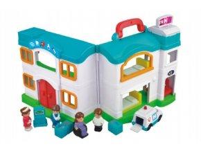 Domeček nemocnice s doplňky plast 12ks v krabici 64x33x12cm