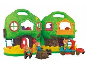 Domeček s medvídky plast 16ks s doplňky v krabici 63x33x13cm