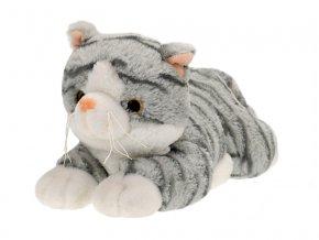 Kočka plyšová 30cm ležící 0m+ šedá