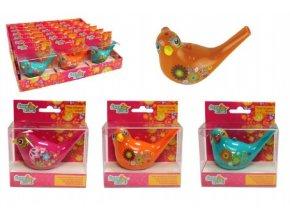 Píšťalka vodní ptáček se šňůrkou plast 10cm mix z 6 barvy v krabičce 10x11x4,5cm