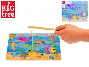 Hra ryby dřevěná magnetická 30x22cm 24m+