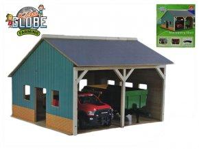 Garáž dřevěná farma pro traktory 55x53x38cm 1:16