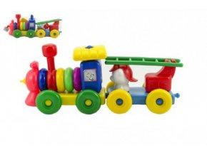 Vláček/Mašinka s vagónkem plast 45cm v síťce