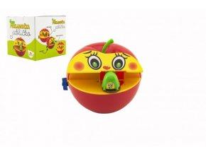 Pokladnička červené jablko s červíkem na klíček plast 11x10cm v krabičce 11x11x10cm