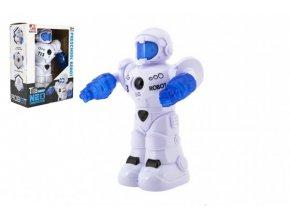 Robot jezdící plast 26cm EN mluvící na baterie se světlem se zvukem v krabici 22x28x11cm