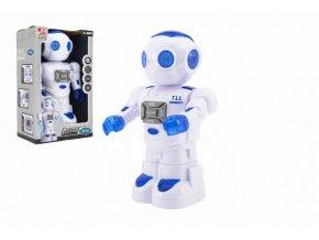 Robot jezdící plast 27cm EN mluvící na baterie se světlem se zvukem v krabici 18x28x11,5cm