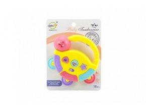 Tamburínka baby plast 12cm 2 barev na baterie se světlem se zvukem skladem